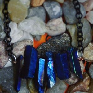 Jewelry - Blue metallic crystal necklace boho high end rave